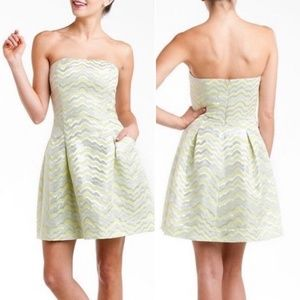 Lily Pulitzer | 00 strapless shimmery yellow dress